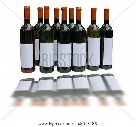 Set Of Unlabeled Wine Bottles Isolated Over White