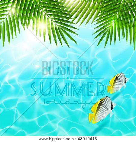 Vacaciones de verano vector diseño - Ramos sobre agua azul con peces tropicales