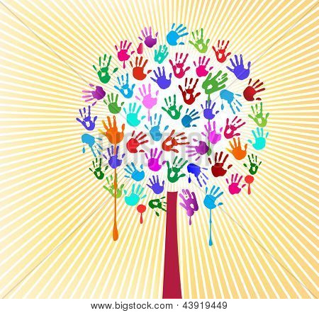 Hand print tree - arts and craft concept