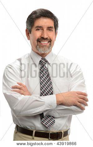 Mature Hispanic businessman smiling isolated over white background