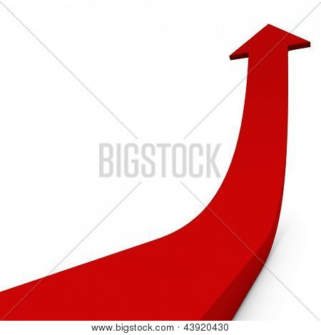 Red ascending arrow isolated on white background concept image.