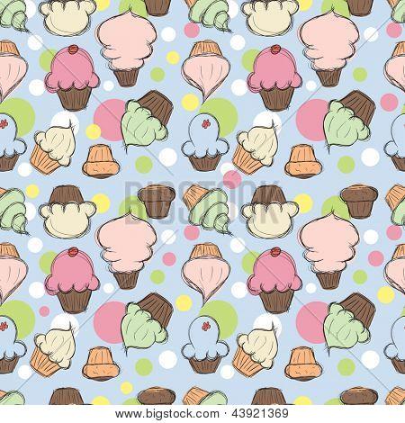 Cupcakes seamless background