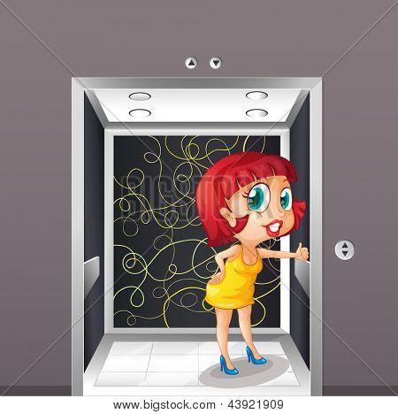 Beispiel für eine sexy Frau am Aufzug