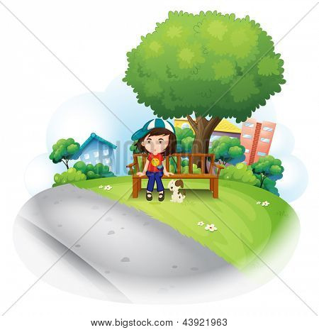 Illustration of a girl sitting at the wooden bench near the big tree on a white background