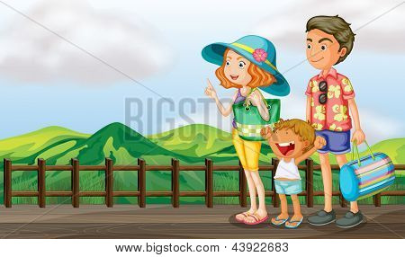 Illustration of a happy family at the wooden bridge