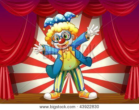 Abbildung einer Etappe mit einem lustigen clown