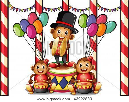 Illustration of the three monkeys at the carnival