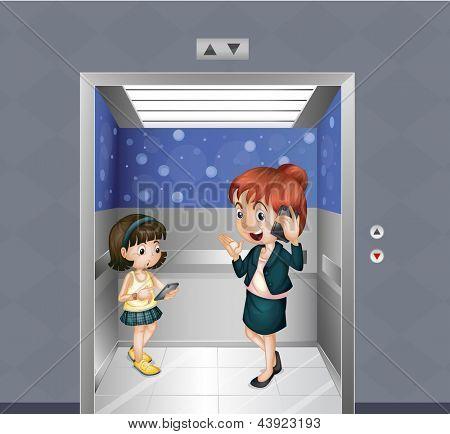 Abbildung einer Frau und eines Kindes am Aufzug