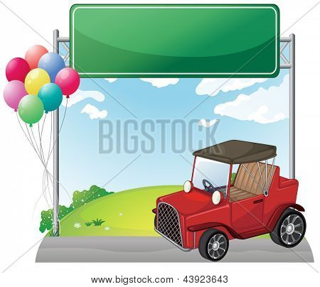Illustration of a red jeep near an empty green board on a white background