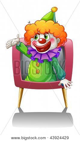Illustration of a clown inside a pink TV on a white background
