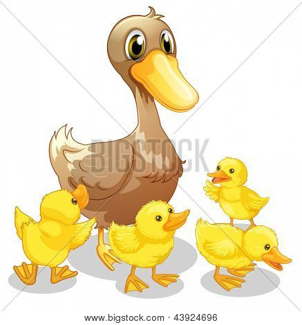 Illustration of the brown duck and her four yellow ducklings on a white background