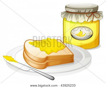 Illustration of a plate with a bread and a jar of banana jam on a white background