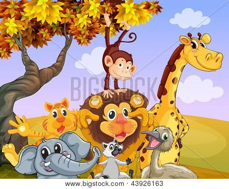 Illustration of the wild animals near the big tree