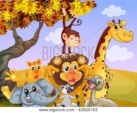 Illustration of the wild animals near the big tree