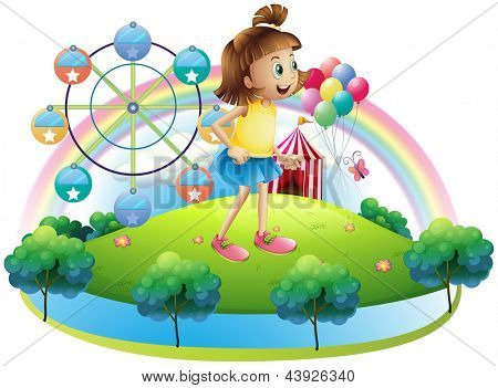 Illustration of a young girl at the amusement park on a white background