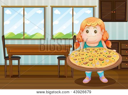 Illustration of a fat girl holding a circle of pizza