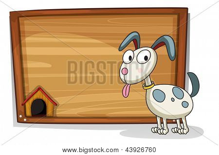 Illustration of an empty board with a white puppy on a white background
