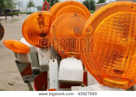 Traffic lights and barricade with flashers