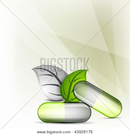 Natural medical pills or capsule with green leaf on abstract background. EPS 10.