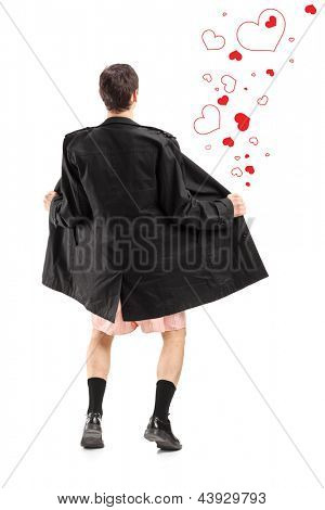 Full length portrait of a flasher in a coat, and hearts around him, isolated on white background