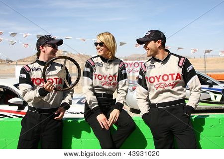 LOS ANGELES - MAR 23:  Jackson Rathbone, Jenna Elfman, Jesse Metcalfe at the  Toyota Pro/Celebrity Race training at the Willow Springs International Speedway on March 23, 2013 in Rosamond, CA