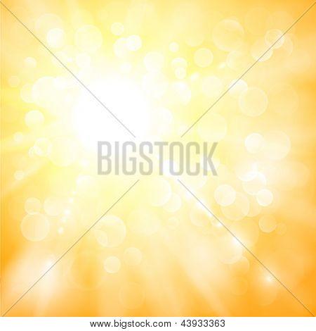 Ilustración abstracta de sol con luces defocused - versión de la trama