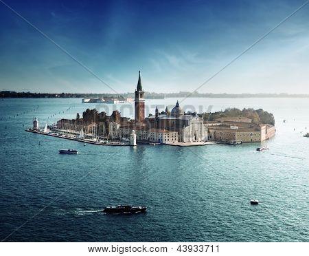 Постер, плакат: вид острова Сан Джорджо Венеция Италия, холст на подрамнике