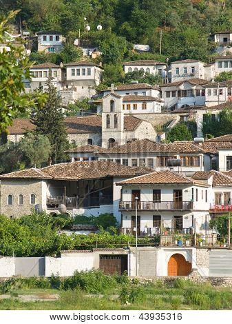 Berat and St. Spyridon belltower in Gorica, Albania