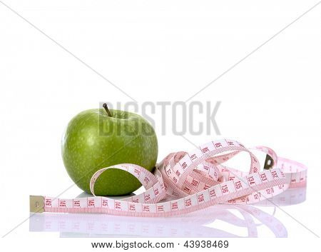 Green apple and measuring  the meter, isolated on white background