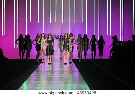 ZAGREB, CROATIA - MARCH 15: Fashion models on catwalk wearing clothes designed by Martina Felja on the 'Fashion.hr' show on March 15, 2013 in Zagreb, Croatia.