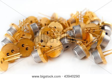 Pail of transistors on white background