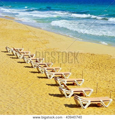 sunlounger in Ses Illetes Beach in Formentera, Balearic Islands, Spain
