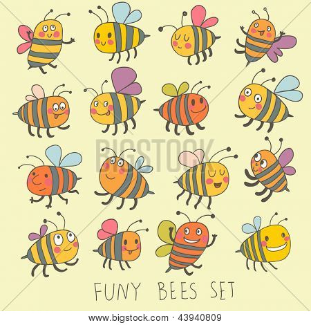 Funny bees set in vector. Cartoon funny bees in bright colors. Childish spring icons