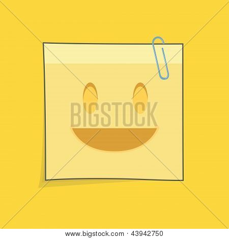 Cute Yellow Post-it. Vector Design.