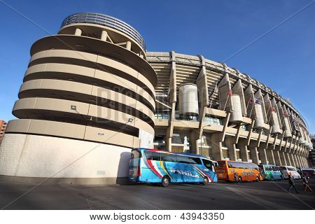 MADRID - MARCH 8: Santiago Bernabeu stadium on March 8, 2012 in Madrid, Spain. Stadium was built in 1947, is named after mud Real Madrid president Santiago Bernabeu.