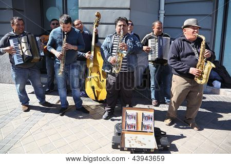 MADRID - MARCH 9: Street musicians on March 9 2012 in Madrid, Spain. Spain in March 2012 received about 3,6 million foreign tourists.