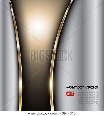 Abstract background elegant metallic silver gold, vector.