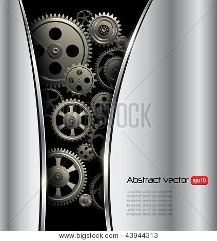 Abstract background metallic silver with gears, vector.