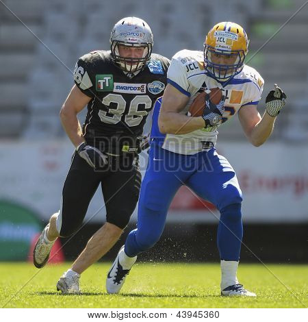 INNSBRUCK, AUSTRIA - APRIL 28: WR Klaus Geier (#86 Giants) runs with the ball on April 28, 2012 in Innsbruck, Austria.