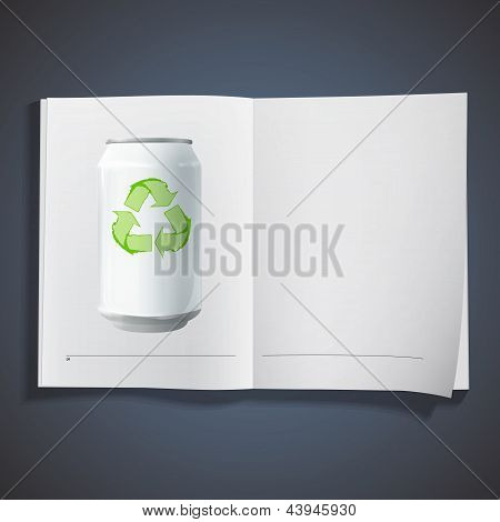 Tin With Recycling Icon On White Book. Vector Design.