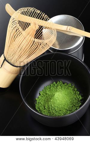 matcha, powdered green tea, japanese tea ceremony image