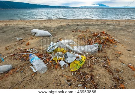 Rubbish On The Shores Of An Ocean