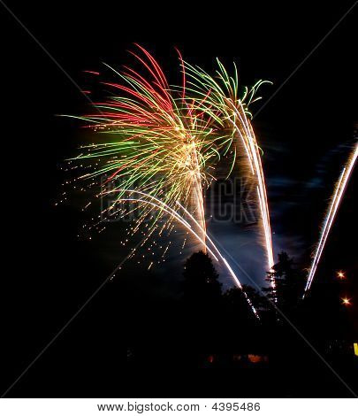 Colorful Fireworks Display At Night