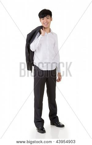 Asian businessman put coat on his shoulder, full length portrait isolated on white background.