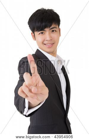Asian businessman give you a sign of finger touch, closeup portrait on white background.