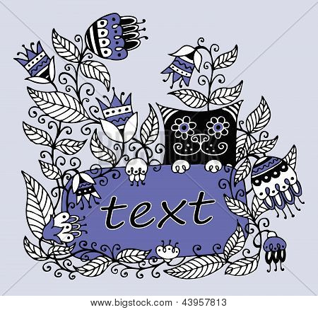 Floral illustration with a frame for text and a cat