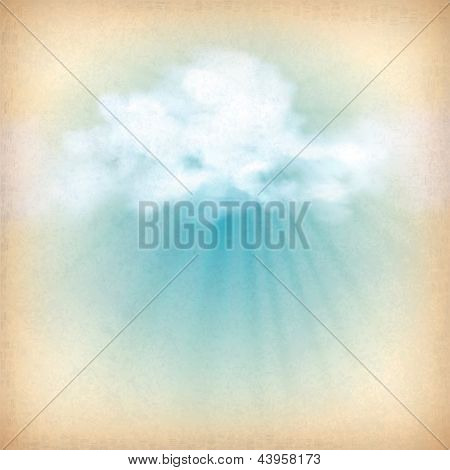 Sunlight Rays Through Clouds Vector Background