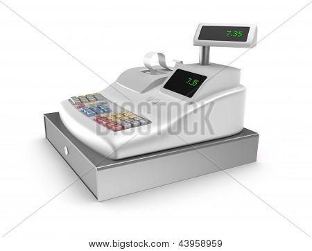 Cash register on white background