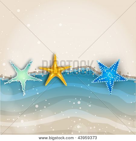 Beautiful summer background with shiny starfish.