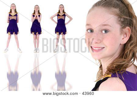 Cheerleader mit inoffiziellen Teamnamen und Farben-Uniform